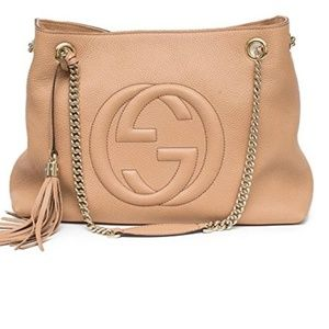 Gucci Camelia Camel Pebbled Leather Soho bag